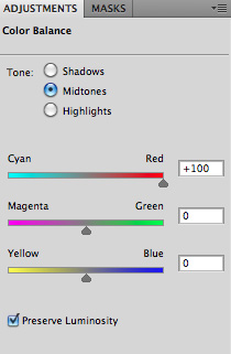 apply a lot of red in your color balance
