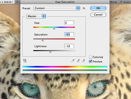 Go into Hue Saturation to change eye colors